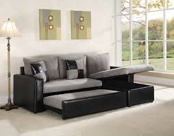 grey fabric modern living room sectional sofa w wooden legs grey microfiber with two tone leather like vinyl base sectional