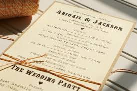 country wedding programs wedding programs handmade custom kraft and bakers twine