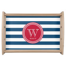 monogrammed platters and trays personalized monogram navy and striped serving tray home