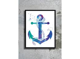 anchor watercolor art print sea painting nautical poster beach
