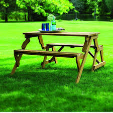 Picnic Table With Benches Loon Peak Luxton Convertible Wood Picnic Table U0026 Garden Bench