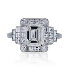 platinum 1 46 carat emerald cut art deco diamond engagement ring