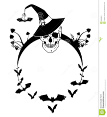 halloween illustration with skull and bats stock image image