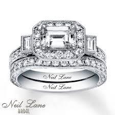 neil emerald cut engagement rings neil bridal set 2 1 6 ct tw diamonds 14k white gold