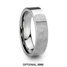 fingerprint wedding bands 6mm 8mm custom fingerprint tungsten wedding band