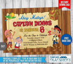 jake neverland pirates invitation 2 templatemansion