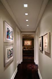 modish wall art for long hallway adhered on light grey wall paint