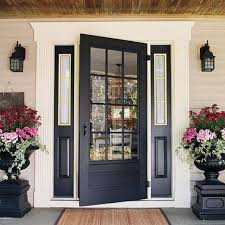 modern glass front door home design chocolate stained teak wood house entrance door with