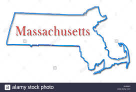 Massachusetts Map by Massachusetts Map With Neon Blue Outline And Red Lettering Stock