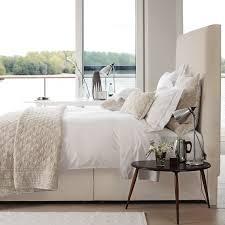 high fabric headboard cream neutral bedroom home sweet home