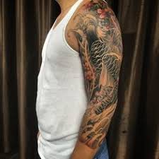 tattoo yakuza lengan mens japanese flower sleeve tattoos dragon in place of the koi