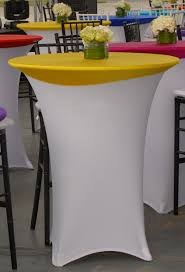 beautiful white spandex highboy table cover with yellow spandex