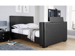 Double Faux Leather Bed Frame by Newark Electric Tv Bed Black Brown White Faux Leather 4ft6