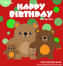toto workshop bear birthday card design to my best friend