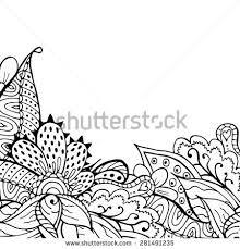 doodle presentations black white doodle floral illustration abstract stock illustration