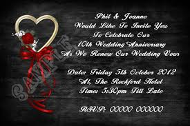 vow renewal invitations personalised black and heart wedding vow renewal invitations