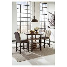 moriann round dining room counter table wood dark brown