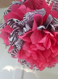 hot pink tissue paper zebra and hot pink tissue paper pom poms by ladieswholunchpoms