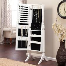 White Jewelry Armoire Mirror Oak Jewelry Armoire Clearance And White Standing Mirror Cabinet