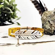 clasp cuff bracelet images Vegan portuguese cork mustard nickel free feather slide gold JPG