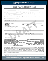 child travel consent form create a letter of consent