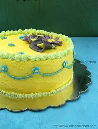 flower fondant cakes nitha kitchen eggless mango buttercream frosting butter cream