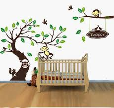 personalised name monkey tree wall art stickers kids nursery vinyl personalised name monkey tree wall art stickers kids nursery vinyl decals diy custom made wallpaper bedroom decoration 3 sizes in wall stickers from home