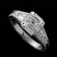 platinum art deco diamond tapered shank engagement ring setting