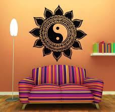 Wall Decals Mandala Ornament Indian mandala wall decals indian floral design sun flower decal yin