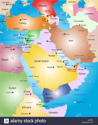 Middle East World Map by Middle East Vector Color Map Stock Photo Royalty Free Image