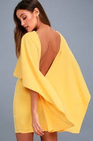 yellow dress yellow dress backless dress cape dress