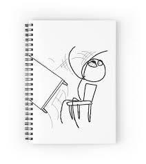 Meme Rage Comic - table flip meme rage comic flipping angry mad spiral notebooks by