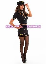 Flight Attendant Halloween Costumes I40 Ladies Black Air Stewardess Pilot Flight Attendant Fancy Dress