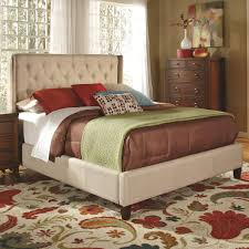 owen oatmeal fabric demi wing queen size bed w button tufted