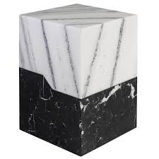 Marble Side Table Terrell Side Table With Solid Statuary Marble Top And Nero