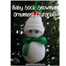 baby sock snowman ornament tutorial just a creativity