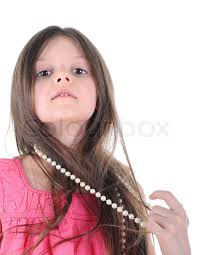girl pearl necklace images Portrait of a little girl wearing a necklace of pearls isolated on jpg