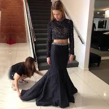 2016 long black bridesmaid dress backless 2 piece prom