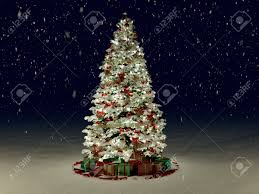 snow covered tree with multi colored lights at