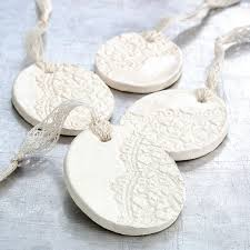 ceramic ornaments with lace impression