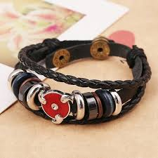leather bracelet styles images Sharingan style leather bracelets 2 styles anime tokyo cafe jpg