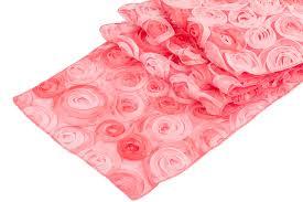 pink rosette table runner ombre chiffon rosette table runner coral cv linens