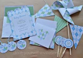 baby shower kits printable baby shower invitations blue argyle invites