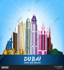 Colorful City Colorful City Dubai Uae Famous Vector U0026 Photo Bigstock