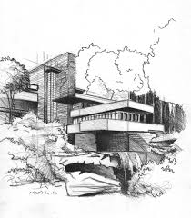 falling water house sketch poster