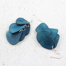 eco friendly earrings fair trade blue dangle earrings made of tagua nut funky eco