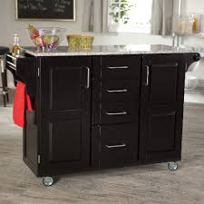 White Kitchen Cart Island Gray Granite Counter Top Of Kitchen Island With Black Wooden