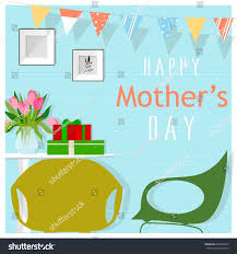 Holiday Living Room Clipart Festive Decorated Living Room Mothers Day Stock Vector 628763243