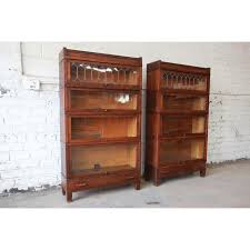 Barrister Bookcases With Glass Doors Antique Globe Wernicke Leaded Glass Door Oak Barrister Bookcases