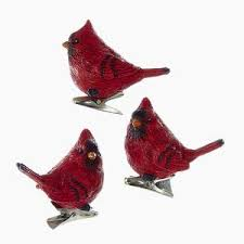 flocked cardinal with clip ornaments 2 assorted kurt s adler